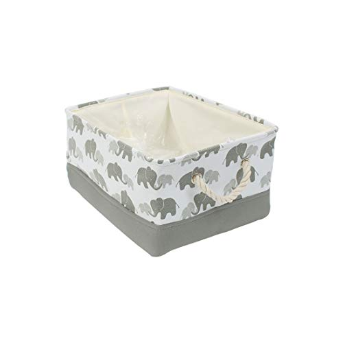 uxcell Small Storage Basket Bins for Toy Organizer,Collapsible Laundry Basket with Drawstring Closure for Clothes Closet Shelves, (Small - 12.2' x 8.3' x 5.1'), Grey Elephant