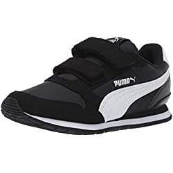 PUMA Unisex ST Runner NL Velcro Kids Sneaker, black- white, 2.5 M US Little Kid
