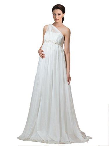 Bridess Women s One-Shoulder Empire Waist Chiffon Maternity Wedding Dress d6228e872d