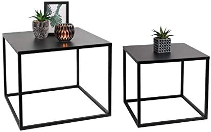 Lifa Living Nest Of 2 Tables Cube Square Coffee Tables For Small Spaces Modern Side Tables Black Metal End Tables For Living Room Bedroom Patio Office Amazon Co Uk Kitchen Home