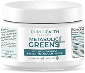 Metabolic Greens+ the Energy Magician by PureHealth Research (Non-GMO) Natural Weight Loss Supplement, Energy and Mood Booster, Metabolism Booster - Healthy Natural Digestive Blends, 3 Bottles (1) (1) 1