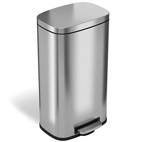 iTouchless SoftStep 8 Gallon Stainless Steel Step Trash Can with Odor Control System, 30 Liter Pedal Kitchen Trash Can Perfect for Office, Home and Kitchen