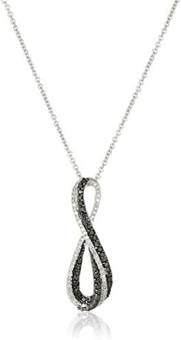 Sterling Silver Black and White Diamond Infinity Pendant Necklace (1/3 cttw), 18″