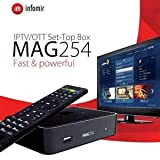 Original MAG 254 IPTV Box + Remote + HDMI Cable + 600 MBPS USB Dual WiFi Adapter + 1 Year IPTV Service (All Indian Channels and All Other Country Channels + 5000+ VOD)
