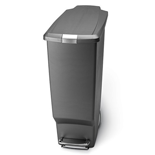 simplehuman Slim Plastic Step Trash Can, Grey, 40 L / 10.6 Gal