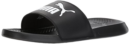 PUMA Men's Popcat Slide Sandal Black/White, 4 M US