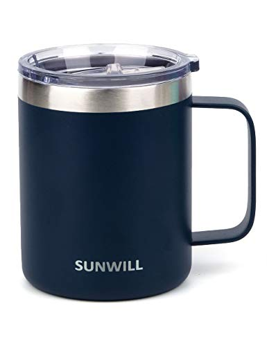 SUNWILL Coffee Mug, Vacuum Insulated Camping Mug with Lid, Double Wall Stainless Steel Travel Tumbler Cup, Coffee Thermos Outdoor, 12oz Navy