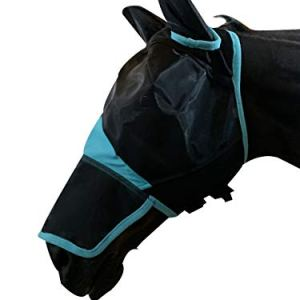 TGW RIDING Horse Mask Full Face Mesh Mask Fine Mesh with Ears and Long Nose (Full, Black/Turquoise)