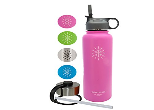 Smart Flask Stainless Steel Water Bottle, 18 Oz, Vacuum Insulated, Includes Leakproof Metal Lid, and Convenient Straw Lid. Fits most Car Cup Holders. (Pink)