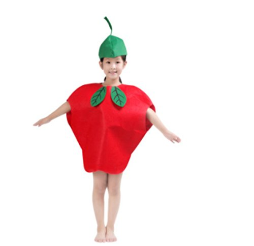 Cute Kids Performance Stage Costume One Size Halloween Christmas (Apple)