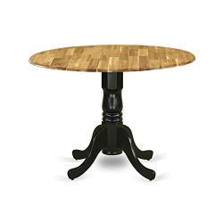 Dublin Dining Table Made of Acacia Wood offering Wood Texture with Two 9 Inch Drop Leaves, 42 Inch Round, Wirebrushed Black Pedestal