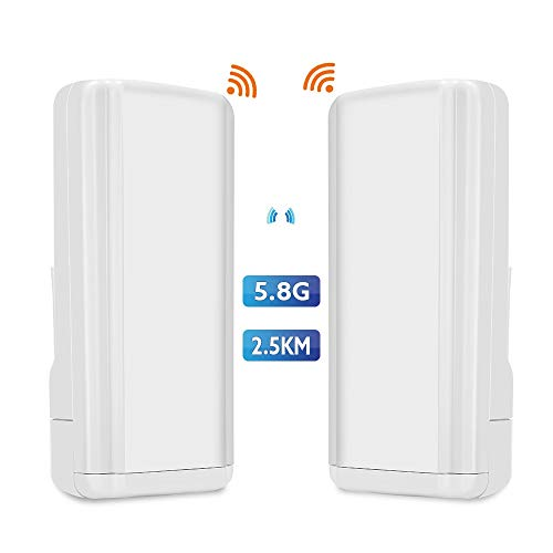 TOMLOV-Wireless-WiFi-Bridge-58G-450Mbps-Point-to-Point-Access-Outdoor-CPE-Kit-Long-Range-Transmitter-Supports-25KM-Transmission-Distance-with-14-dBi-High-Gain-Antenna-2-Pack
