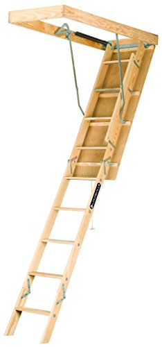 Louisville Ladder S254P 250-Pound Duty Rating Wooden Attic Ladder Fits 7-Foot to 8-Foot 9-Inch Ceiling Height, 25.5-to-54-Inch Rough Opening