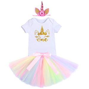 FYMNSI Baby Infant Girls Cake Smash Unicorn Outfit It's My First Birthday Shiny Print Golden Crown One Romper Rainbow Tutu Skirt with Headband 1st Birthday Party Dress Costume Photo Shoot Set 3pcs 31jNRYHzLDL
