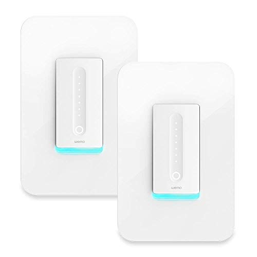 Wemo Dimmer Wi-Fi Light Switch, Compatible with Alexa and Google Assistant, 2-Pack (Renewed)