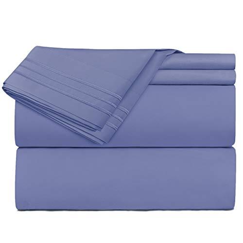 Nestl Bedding 4 Piece Sheet Set - 1800 Deep Pocket Bed Sheet Set - Hotel Luxury Double Brushed Microfiber Sheets - Deep Pocket Fitted Sheet, Flat Sheet, Pillow Cases, King - Steel Blue