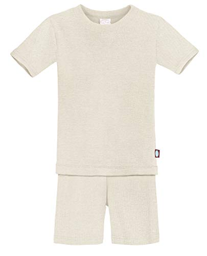 City Threads Certified Organic Thermal Short Sleeve and Short Snug Pajama Set, Baby Boys and Girls for Sensitive Skin, Oatmeal, 8