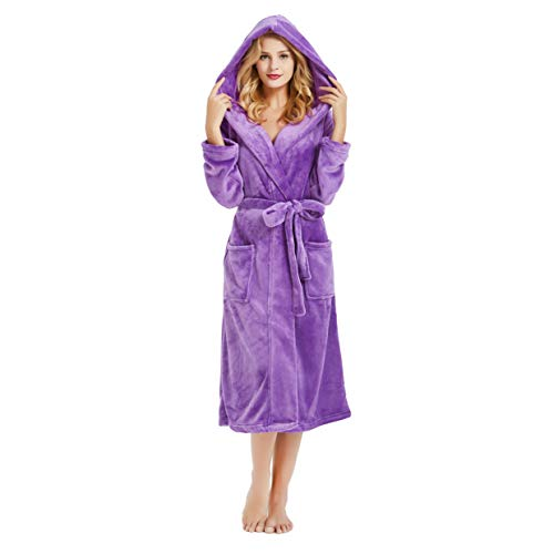 M&M Mymoon Womens Hooded Fleece Robes Plush Comfy Soft Warm (Violet, 2XL/3XL)