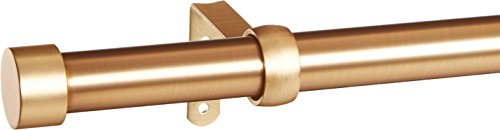 Umbra Cappa Curtain Rod - 1-Inch Drapery Rod Extends from 66 to 120 Inches, Includes 2 Matching Finials, Brackets & Hardware, Brass