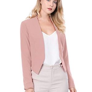 Allegra K Women's Collarless Work Office Business Casual Cropped Blazer 12 Fashion Online Shop 🆓 Gifts for her Gifts for him womens full figure