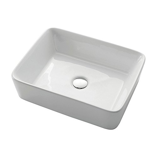 KES Bathroom Rectangular Porcelain Vessel Sink Above Counter White  Countertop Bowl Sink for Lavatory Vanity Cabinet Contemporary Style, BVS110  | ...