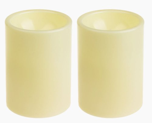 GiveU Flameless Outdoor LED Candle Set, Battery Operated Plastic Pillar Led Candle Light With Timer, 3 x 4, Ivory,Pack of 2