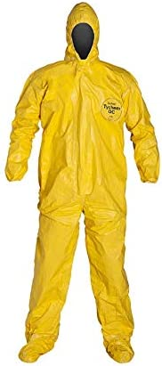 DuPont Tychem 2000 QC122T Disposable Chemical Resistant Coverall with Hood and Elastic Cuff, Yellow Measurement 3XL Tape Seams 1 Pack