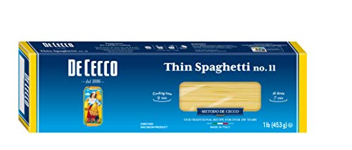 De Cecco Semolina Pasta, Thin Spaghetti No.11, 1 Pound (Pack of 5)
