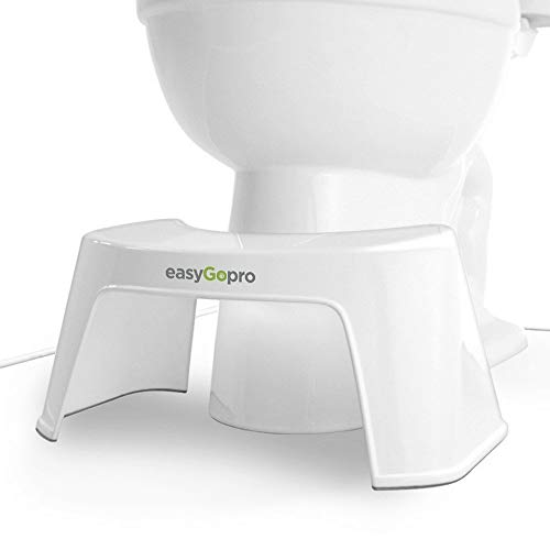 EasyGopro Go Time Just Got Easier 7.5 Bathroom Squatty Toilet Stool Recommended for All Ages | Compact Size Fits All Toilets | White