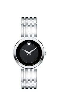 Movado Women's Esperanza Stainless Steel Watch with a Concave Dot Museum Dial, Silver/Black (607051)