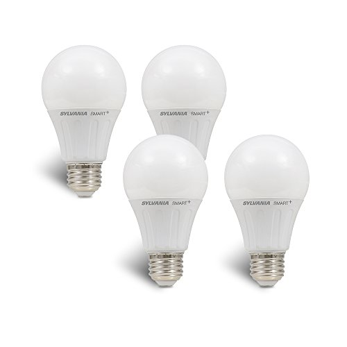 SYLVANIA 74768 Smart (Formerly LIGHTIFY) On/Off/On/Off/Dim LED Light Bulb, 60W Equivalent A19, 10 Year, Works with Amazon Alexa, SmartThings and Wink (4 Pack), Soft White, 4 Piece