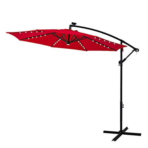 Solar Led Lights And Base Stand, Outdoor Patio Umbrella With Solar Led Lights