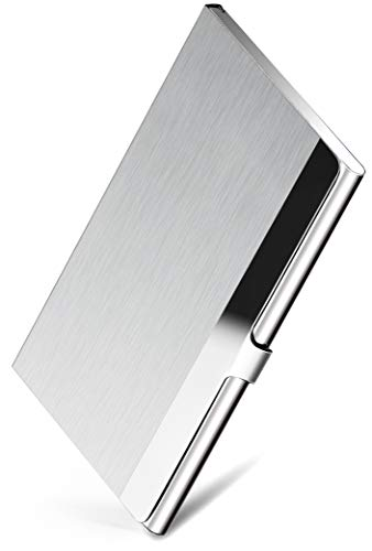 MaxGear Professional Business Card Holder Business Card Case Stainless Steel Card Holder, Keep Business Cards in Immaculate Condition, 3.7 x 2.3 x 0.3 inches, Silver