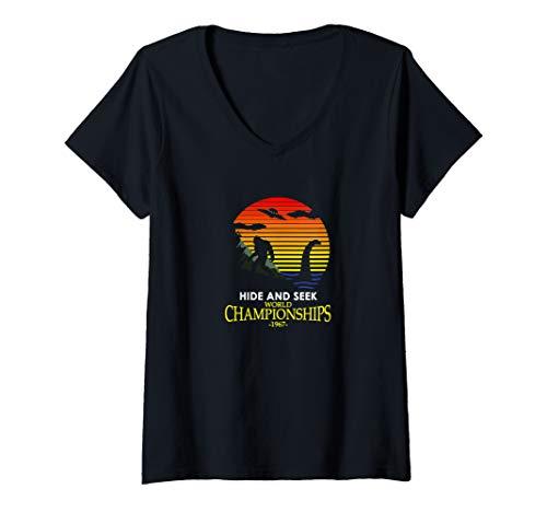 Womens Hide and Seek World Championship Nessie VS Yeti Bigfoot V-Neck T-Shirt