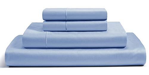 CHATEAU HOME COLLECTION Best Bedding 100% Egyptian Cotton Sheets French Blue Queen Sheets Set Luxury 800 Thread Count - Long Staple Cotton Sateen Weave for Soft and Silky Feel, Extra Deep Pockets