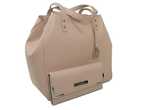 New Nine West Logo Satchel Purse Cross Body Hand Bag & Wallet 2 Piece Set Pink