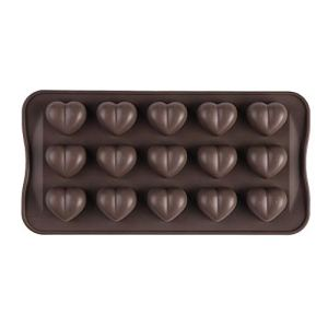 CHOULI 15 Slots Heart Shape DIY Silicone Chocolate Candy Cake Mold for Homemade Bake Brown 31ndqfed mL