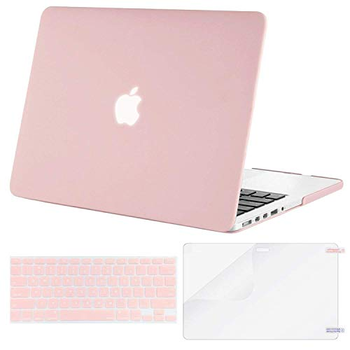 MOSISO Case Only Compatible Older Version MacBook Pro Retina 13 Inch (Model: A1502 & A1425) (Release 2015 - end 2012), Plastic Hard Shell & Keyboard Cover & Screen Protector, Rose Quartz
