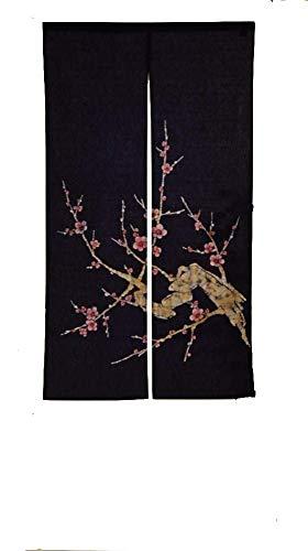 Cosmo Japanese Batik Noren Curtain Tapestry Plum Indigo Blue