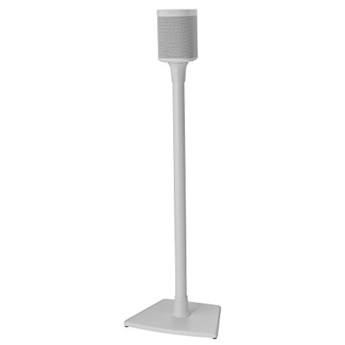 Sanus Wireless Sonos Speaker Stand for Sonos One, Play:1, Play:3 - Audio-Enhancing Design with Built-in Cable Management - Single Stand (White) - WSS21-W1