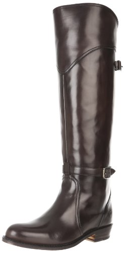 31p2Lm0cD9L Tall riding boot featuring angled seaming at front cuff and two slender buckle straps at shaft Low block heel