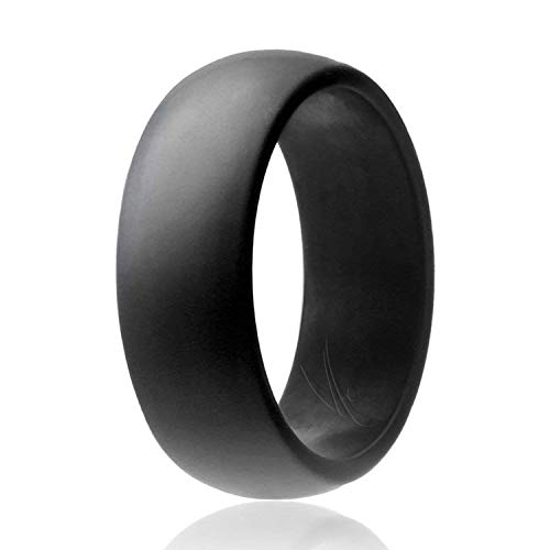 ROQ Silicone Wedding Ring for Men Affordable Silicone Rubber Band, Grey - Size 12