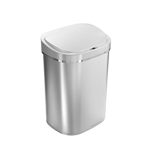 Ninestars DZT-80-35 Automatic Touchless Infrared Motion Sensor Trash Can, 21 Gal 80L, Heavy Duty Stainless Steel Base (Oval, Silver/Brush Lid) Trashcan, SS