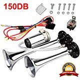 MIRKOO 12V 150dB Car Air Horn Kit, Super Loud Twin Tone Chrome Plated Zinc Dual Trumpet Air Horn with Compressor for Any 12V Vehicles Car Truck RV Van SUV Motorcycle Off Road Boat (Silver)