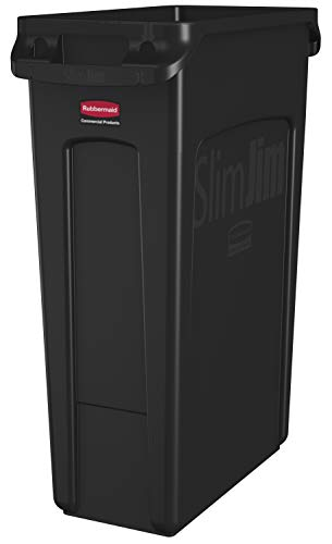 Rubbermaid Commercial Products Slim Jim Plastic Rectangular Trash/Garbage Can with Venting Channels, 23 Gallon, Black (FG354060BLA)