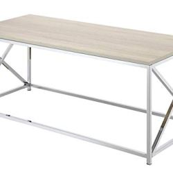 Convenience Concepts Belaire Coffee Table, Chrome / Weathered White