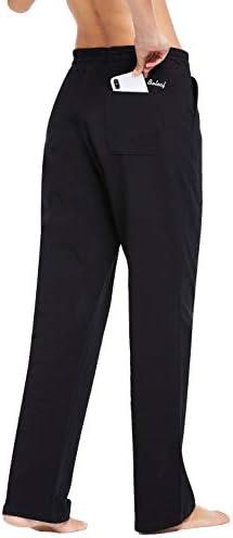 BALEAF Women's Cotton Leisure Drawstring Yoga Sweatpants Straight Bottom Leg Lounge Walking Wide Pajamas Pocketed 4