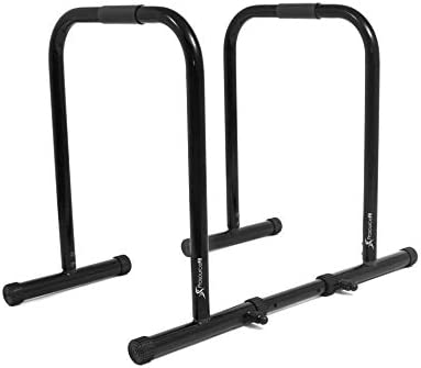 ProsourceFit Dip Stand Station, Ultimate Heavy Duty Body Bar Press with Safety Connector for Tricep Dips, Pull-Ups, Push-Ups, L-Sits
