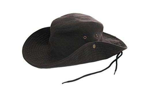 Krumba Men s Cotton Brown Oilskin Outdoor Water Proof Cowboy Hat ... e892e982ebf
