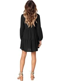 V Neck Casual Loose Flowy Swing Shift Dresses
